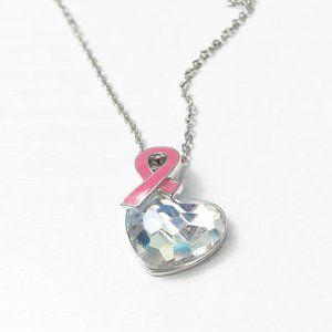 Swarovski Breast Cancer Ribbon Heart Necklace